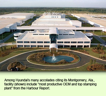 Among Hyundai's many accolades citing its Montgomery, Ala., facility (shown) include