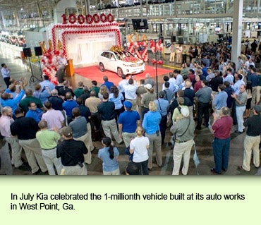 In July Kia celebrated the 1-millionth vehicle built at its auto works in West Point, Ga.