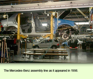 The Mercedes-Benz assembly line as it appeared in 1998.