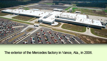 The exterior of the Mercedes factory in Vance, Ala., in 2006.