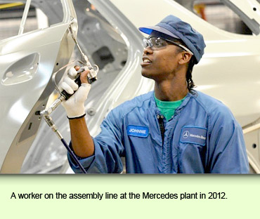 A worker on the assembly line at the Mercedes plant in 2012.