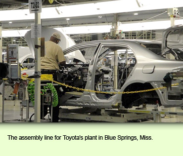 The assembly line for Toyota's plant in Blue Springs, Miss.