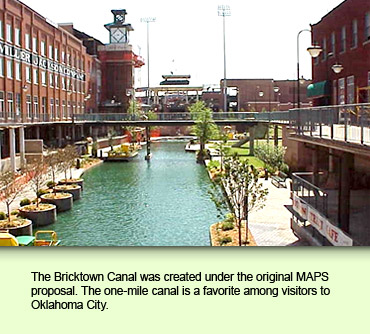 The Bricktown Canal was created under the original MAPS proposal. The one-mile canal is a favorite among visitors to Oklahoma City.