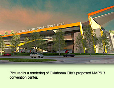 Pictured is a rendering of Oklahoma City's proposed MAPS 3 convention center.
