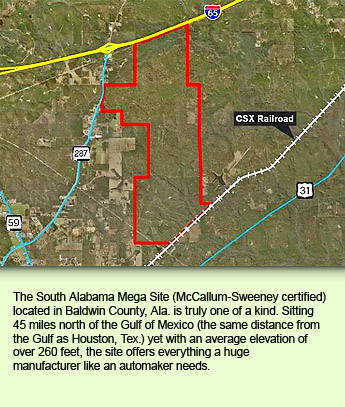 The South Alabama Mega Site (McCallum-Sweeney certified) located in Baldwin County, Ala. is truly one of a kind. Sitting 45 miles north of the Gulf of Mexico (the same distance from the Gulf as Houston, Tex.) yet with an average elevation of over 260 feet, the site offers everything a huge manufacturer like an automaker needs.