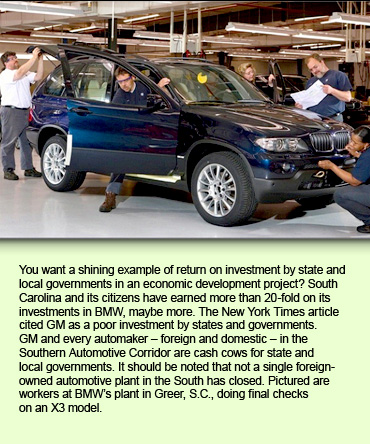 You want a shining example of return on investment by state and local governments in an economic development project? South Carolina and its citizens have earned more than 20-fold on its investments in BMW, maybe more. The New York Times article cited GM as a poor investment by states and governments. GM and every automaker – foreign and domestic – in the Southern Automotive Corridor are cash cows for state and local governments. It should be noted that not a single foreign-owned automotive plant in the South has closed. Pictured are workers at BMW's plant in Greer, S.C., doing final checks on an X3 model.