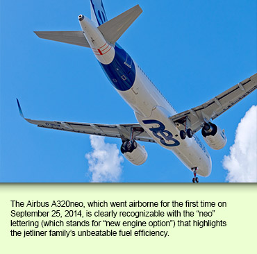 The Airbus A320neo, which went airborne for the first time on September 25, 2014, is clearly recognizable with the