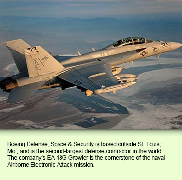 Boeing Defense, Space & Security is based outside St. Louis, Mo., and is the second-largest defense contractor in the world. The company's EA-18G Growler is the cornerstone of the naval Airborne Electronic Attack mission.