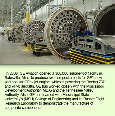 In 2008, GE Aviation opened a 300,000 square-foot facility in Batesville, Miss. to produce two composite parts for GE's new and popular GEnx jet engine, which is powering the Boeing 787 and 747-8 aircrafts.