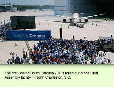 The first Boeing South Carolina 787 is rolled out of the Final Assembly facility in North Charleston, S.C.