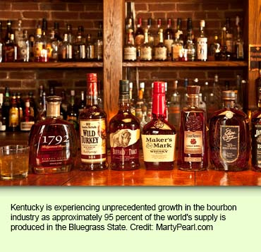 Kentucky is experiencing unprecedented growth in the bourbon industry as approximately 95 percent of the world's supply is produced in the Bluegrass State. Credit: MartyPearl.com