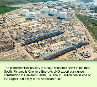 The petrochemical industry is a huge economic driver in the rural South. Pictured is Cheniere Energy's LNG export plant under construction in Cameron Parish, La. The $18 billion deal is one of the largest underway in the American South.