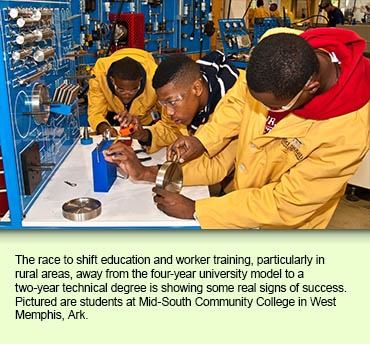 The race to shift education and worker training, particularly in rural areas, away from the four-year university model to a two-year technical degree is showing some real signs of success. Pictured are students at Mid-South Community College in West Memphis, Ark.