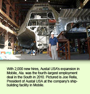 With 2,000 new hires, Austal USA's expansion in Mobile, Ala. was the fourth-largest employment deal in the South in 2010. Pictured is Joe Rella, President of Austal USA at the company's shipbuilding facility in Mobile.