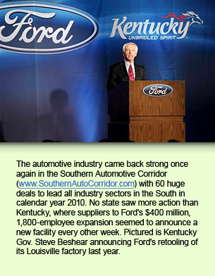 The automotive industry came back strong once again in the Southern Automotive Corridor (www.SouthernAutoCorridor.com) with 60 huge deals to lead all industry sectors in the South in calendar year 2010. No state saw more action than Kentucky, where suppliers to Ford's $400 million, 1,800-employee expansion seemed to announce a new facility every other week. Pictured is Kentucky Gov. Steve Beshear announcing Ford's retooling of its Louisville factory last year.