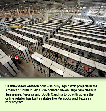 Seattle-based Amazon.com was busy again with projects in the American South in 2011. We counted seven large new deals in Tennessee, Virginia and South Carolina to go with others the online retailer has built in states like Kentucky and Texas in recent years.