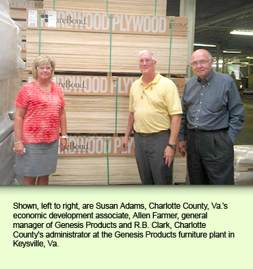 Shown, left to right, are Susan Adams, Charlotte County, Va.'s economic development associate, Allen Farmer, general manager of Genesis Products and R.B. Clark, Charlotte County's administrator at the Genesis Products furniture plant in Keysville, Va.