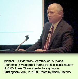 Michael J. Olivier was Secretary of Louisiana Economic Development during the hurricane season of 2005. Here Olivier speaks to a group in Birmingham, Ala., in 2008. Photo by Shelly Jacobs.