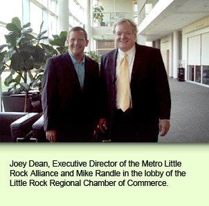 Joey Dean, Executive Director of the Metro Little Rock Alliance and Mike Randle in the lobby of the Little Rock Regional Chamber of Commerce.