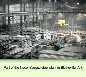 Part of the Nucor-Yamato steel plant in Blytheville, Ark.