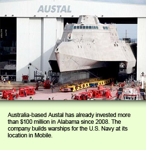 Australia-based Austal has already invested more than $100 million in Alabama since 2008. The company builds warships for the U.S. Navy at its location in Mobile.