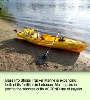 Bass Pro Shops Tracker Marine is expanding both of its facilities in Lebanon, Mo., thanks in part to the success of its ASCEND line of kayaks.