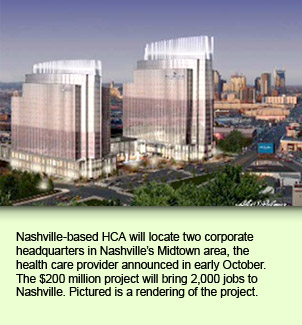 Nashville-based HCA will locate two corporate headquarters in Nashville's Midtown area, the health care provider announced in early October. The $200 million project will bring 2,000 jobs to Nashville. Pictured is a rendering of the project.