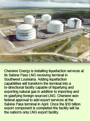 Cheniere Energy is installing liquefaction services at its Sabine Pass LNG receiving terminal in Southwest Louisiana. Adding liquefaction capabilities will transform the terminal into a bi-directional facility capable of liquefying and exporting natural gas in addition to importing and re-gasifying foreign-sourced LNG. Cheniere won federal approval to add export services at the Sabine Pass terminal in April. Once the $10 billion export component is completed the facility will be the nation's only LNG export facility.