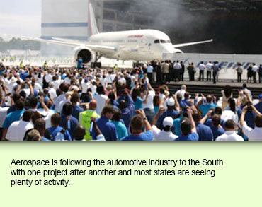 Aerospace is following the automotive industry to the South with one project after another and most states are seeing plenty of activity.