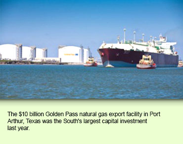 The $10 billion Golden Pass natural gas export facility in Port Arthur, Texas was the South's largest capital investment last year.