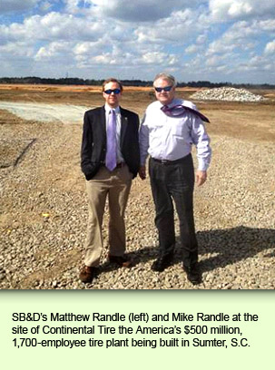 SB&D's Matthew Randle (left) and Mike Randle at the site of Continental Tire the America's $500 million, 1,700-employee tire plant being built in Sumter, S.C.
