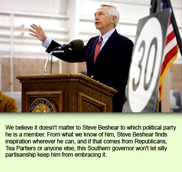 We believe it doesn't matter to Steve Beshear to which political party he is a member. From what we know of him, Steve Beshear finds inspiration wherever he can, and if that comes from Republicans, Tea Partiers or anyone else, this Southern governor won't let silly partisanship keep him from embracing it.