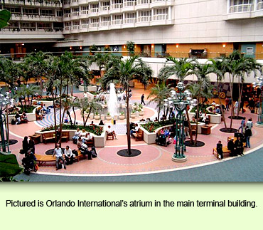 Pictured is Orlando International's atrium in the main terminal building.