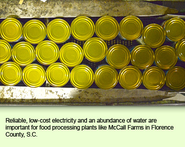 Reliable, low-cost electricity and an abundance of water are important for food processing plants like McCall Farms in Florence County, S.C.