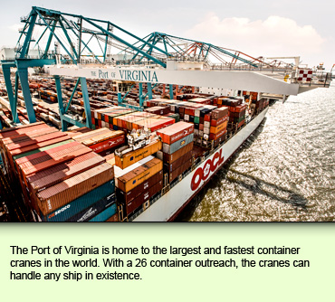 The Port of Virginia is home to the largest and fastest container cranes in the world. With a 26 container outreach, the cranes can handle any ship in existence.