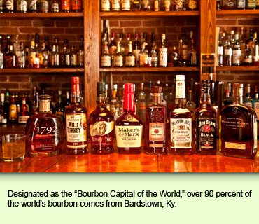 Designated as the Bourbon Capital of the World, over 90 percent of the world's bourbon comes from Bardstown, Ky.