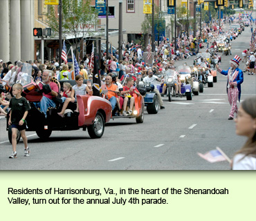 Residents of Harrisonburg, Va., in the heart of the Shenandoah Valley, turn out for the annual July 4th parade.