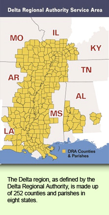 The Delta region, as defined by the Delta Regional Authority, is made up of 252 counties and parishes in eight states.