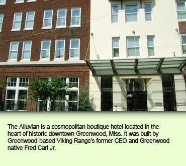 The Alluvian is a cosmopolitan boutique hotel located in the heart of historic downtown Greenwood, Miss. It was built by Greenwood-based Viking Range's former CEO and Greenwood native Fred Carl Jr.