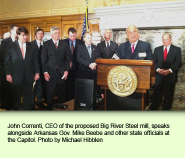 John Correnti, CEO of the proposed Big River Steel mill, speaks alongside Arkansas Gov. Mike Beebe and other state officials at the Capitol. Photo by Michael Hibblen