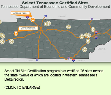 Select TN Site Certification program has certified 26 sites across the state, twelve of which are located in western Tennessee's Delta region.