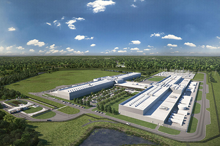 An artist rendering of the proposed $1 billion Facebook data center in Henrico County, Va.