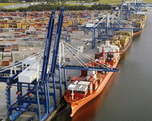 Container volumes at the Port of Charleston set record highs for fiscal year 2017. The large ship-to-shore cranes were purchased specifically for big ships such as the vessels carrying 13,000 cargo boxes, now seen as the new workhorse for containerized cargo shipments between Asia and the United States.