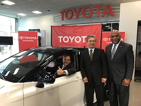 Kentucky Gov. Matt Bevin, Consul General of Japan from Nashville Masami Kinefuchi and TMMK President Wil James were together for the announcement in the spring quarter that Toyota will invest $1.3 billion in its plant in Georgetown, Ky.