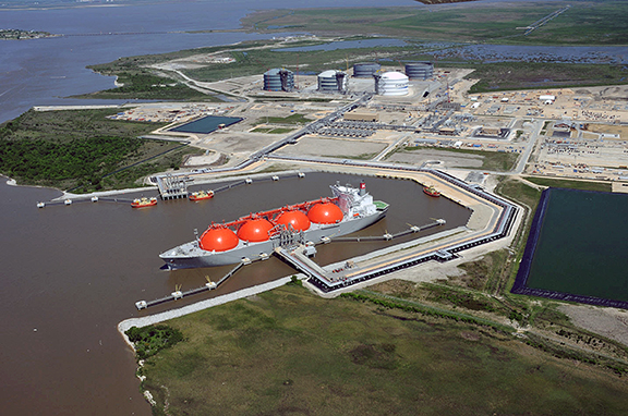 In 2016, Louisiana banked on exports of agriculture goods, oil and gas and LNG to achieve a trade surplus of $7 billion China. That figure is the largest surplus with China of all U.S. states. Pictured is Cheniere Energy's LNG export facility in Southwest Louisiana.