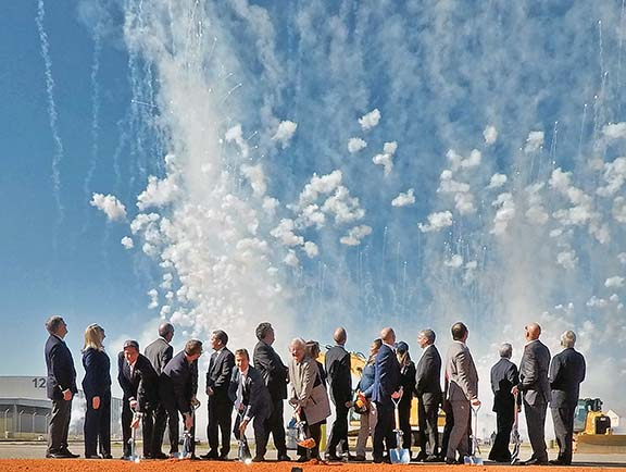 Fireworks erupt at a groundbreaking ceremony in Mobile, Ala., for Airbus' new A220 assembly line, now under construction. Image courtesy of Alabama Governor's Office