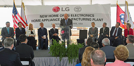 LG breaks ground on $250 million plant in Tennessee - LG Electronics recently broke ground at the site of the South Korean appliance manufacturer's first washing machine plant in the United States. The 1 million-square-foot facility in Clarksville is projected to cost $250 million and create 600 new jobs.